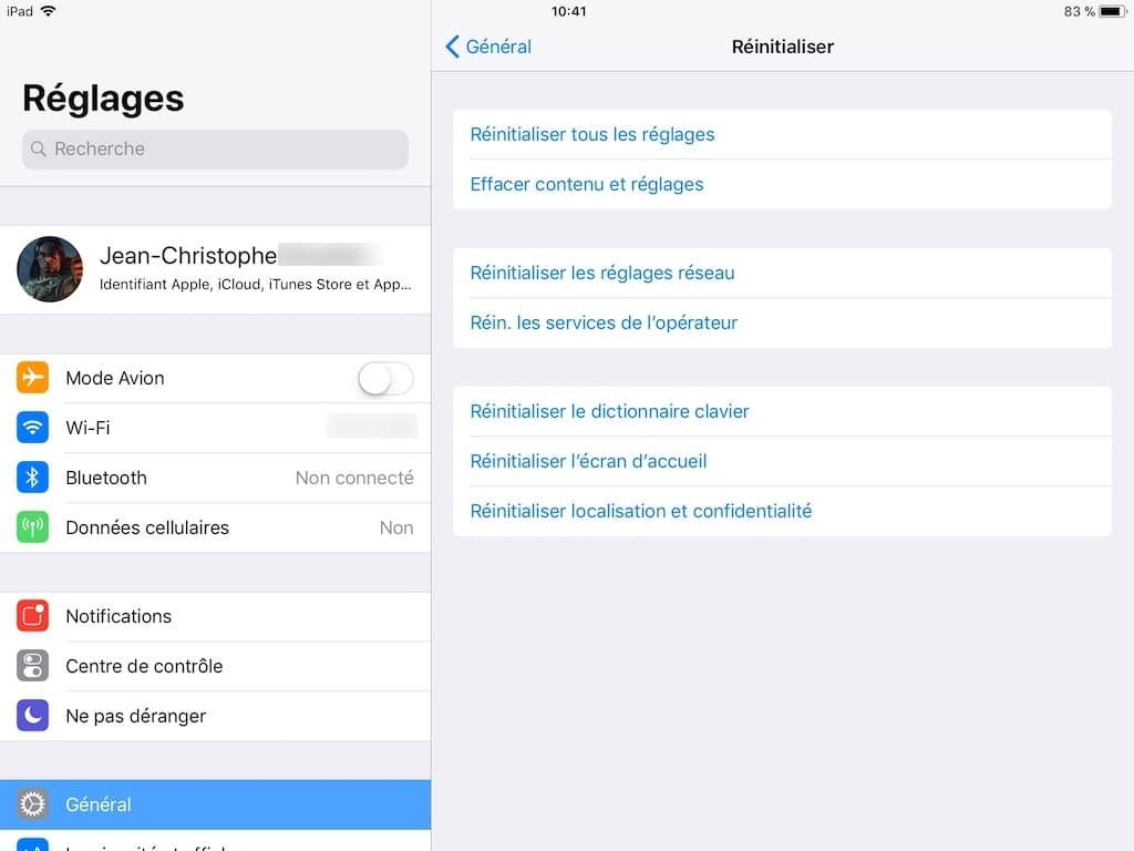 ios 11 lent reinitialiser reglages
