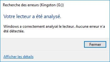 reparer une cle USB analyse termine