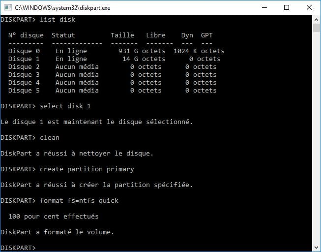 reparer une cle usb create partition primary