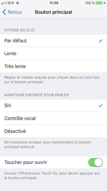 Ajuster le clic du bouton Home sur iPhone vitesse du clic