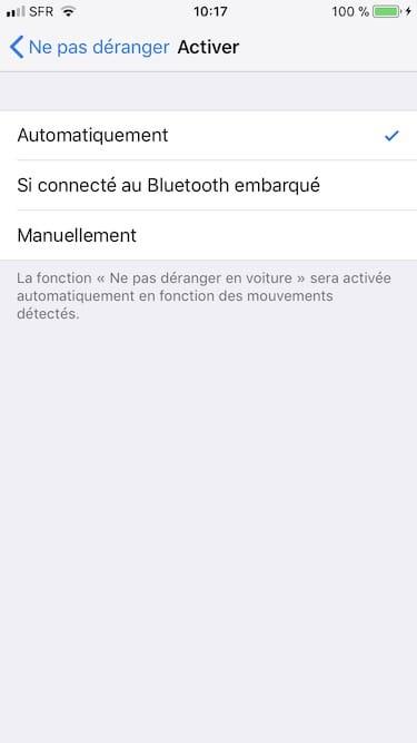 ne pas deranger en voiture iphone automatiquement si connecter au bluetooth