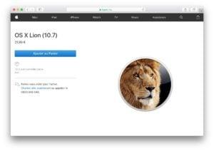 Obtenir les anciens Mac OS X acheter site Apple