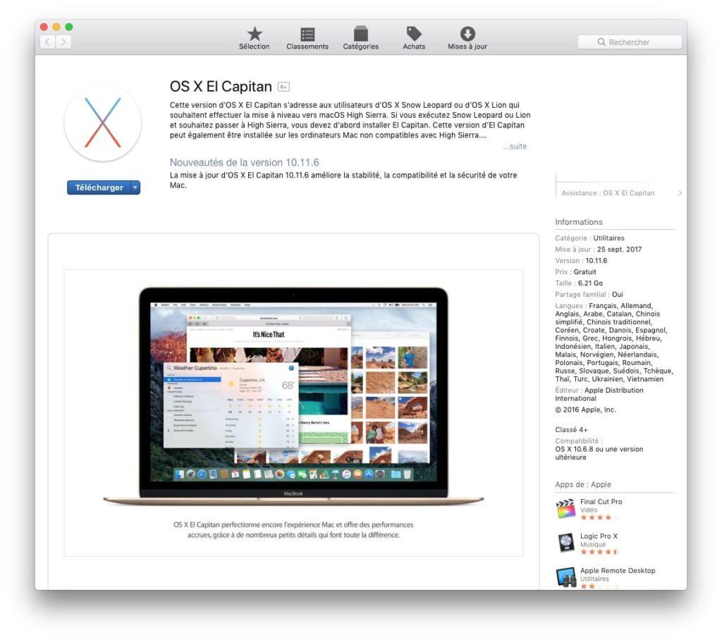 Obtenir les anciens Mac OS X app store