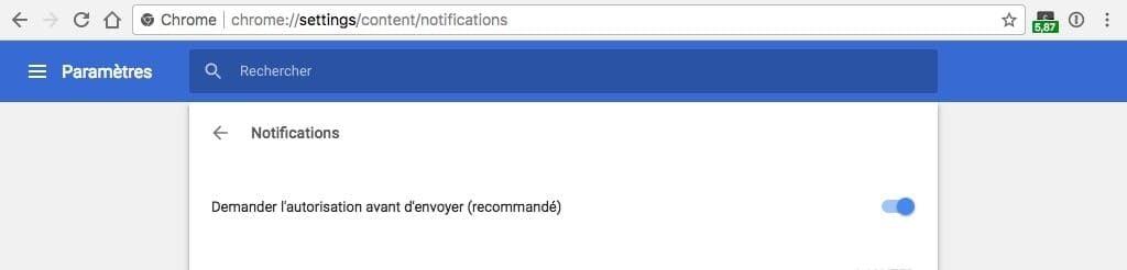 """Demander autorisation avant d""""envoyer Chrome actif"""