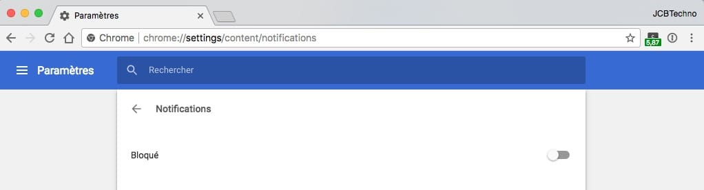 chrome bloquer notifications