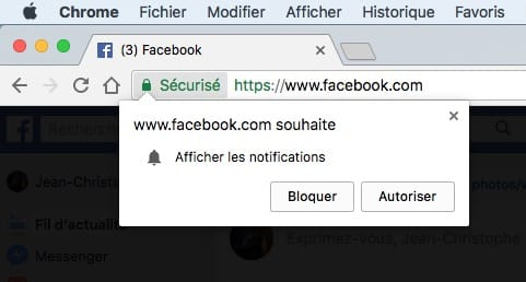 desactivation Afficher les notifications Google Chrome