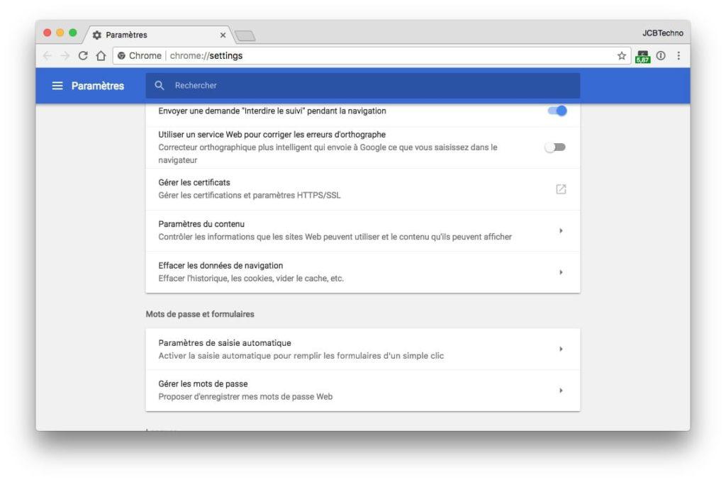 desactiver Afficher les notifications parametres du contenu