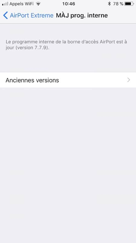 Downgrade Airport anciennes versions