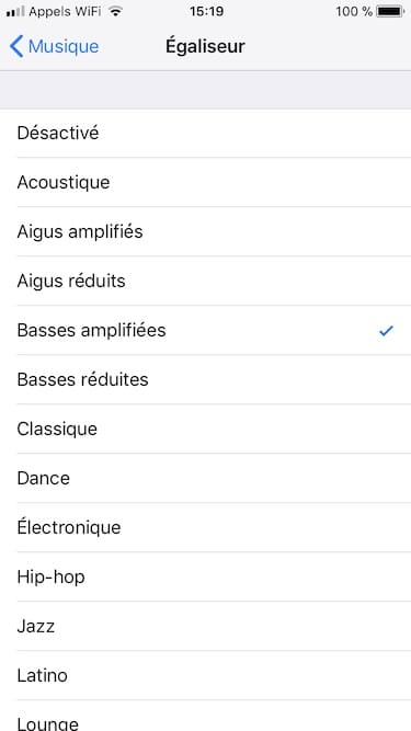 Equalizer Homepod choisir ambiance musicale