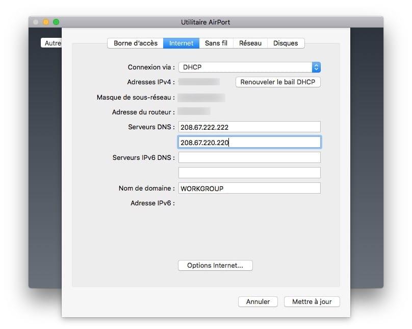 Changer les DNS de son Apple AirPort Extreme Express Time Capsule