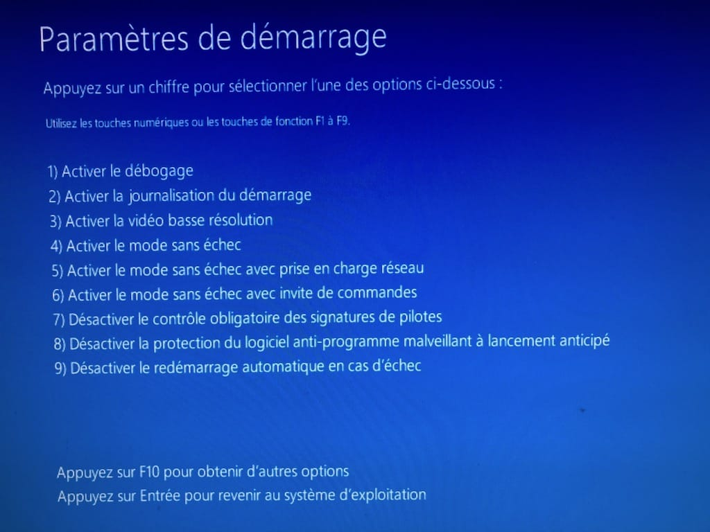 Demarrer Windows 10 en mode sans echec F4 ou F5