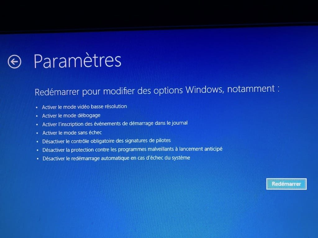 Demarrer Windows 10 en mode sans echec bouton Redemarrer