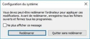 Demarrer Windows 10 en mode sans echec bouton Redemarrer direct