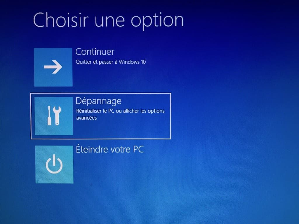 Demarrer Windows 10 en mode sans echec menu Depannage