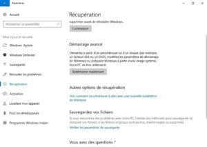 Demarrer Windows 10 en mode sans echec redemarrer maintenant