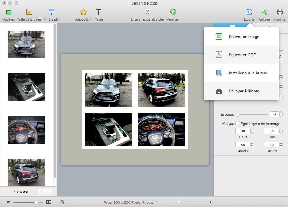 Regrouper 4 photos en une 1 seule et sauver en jpg