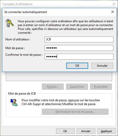 demarrer Windows 10 sans mot de passe connexion automatique