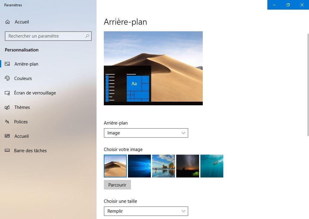 Installation fond d ecran macOS Mojave Windows 10