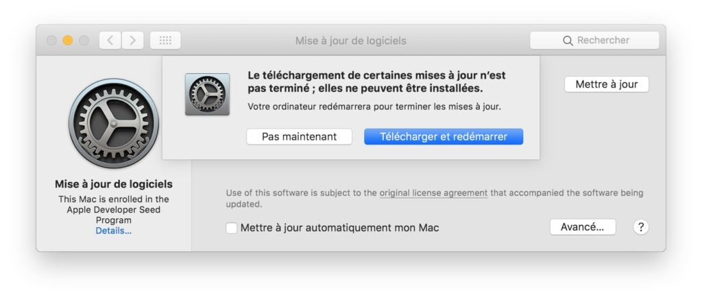 Mettre a jour macOS Mojave et redemarrer