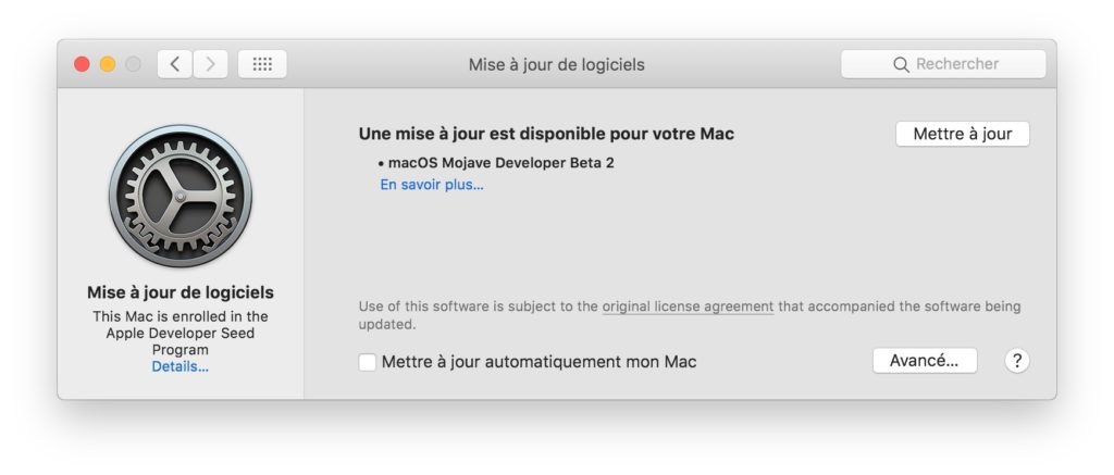 Mettre a jour macOS Mojave mise a jour disponible