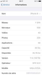 iOS 12 identifier son modele iphone ipad