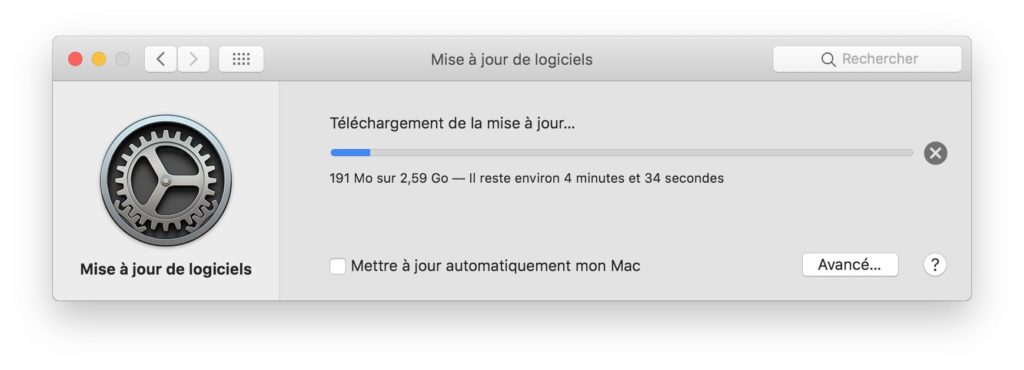 telechargement mise a jour macos mojave