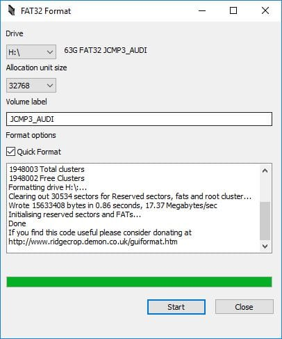 Formater une carte SD de 64 Go en FAT32 GUI graphique
