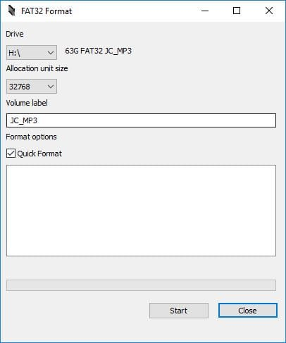 Formater une carte SD de 64 Go en FAT32 GUI