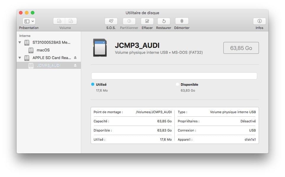 Formater une carte SD de 64 Go en FAT32 avec un Mac