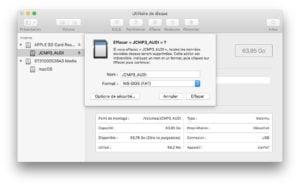 Formater une carte SD de 64 Go en FAT32 sur macos mojave high sierra