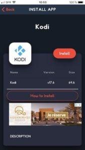 Installer Kodi sur iPhone et iPad cliquer sur install