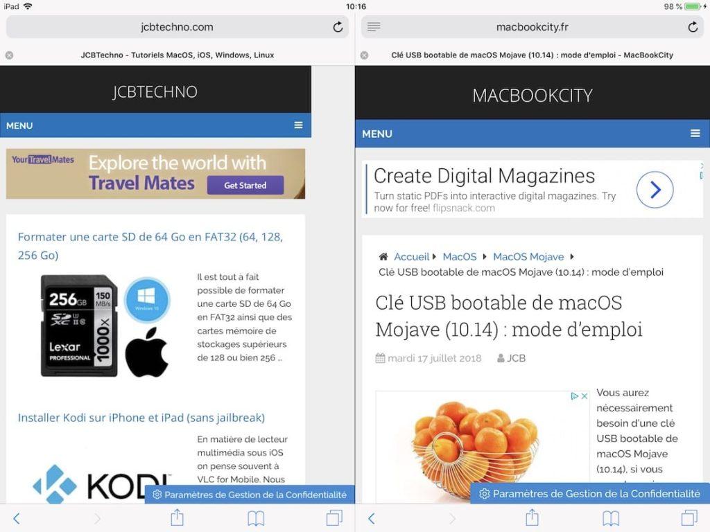 Afficher deux pages Web Safari iPad ouvrir split view