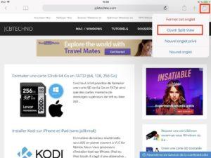 Afficher deux pages Web Safari iPad simultanement