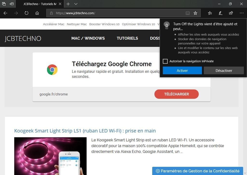 Activer le theme sombre de Microsoft Edge turn off the lights Activer