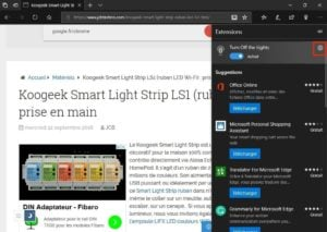 Activer le theme sombre de Microsoft Edge turn off the lights parametres engrenage