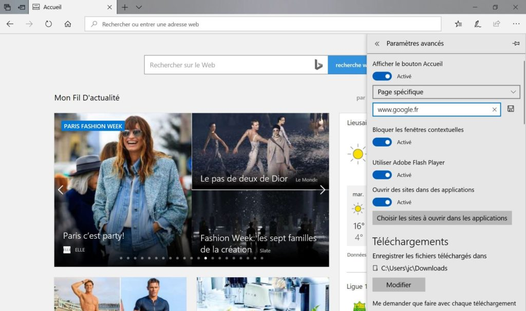 Changer le moteur de recherche de Microsoft Edge et la page d accueil