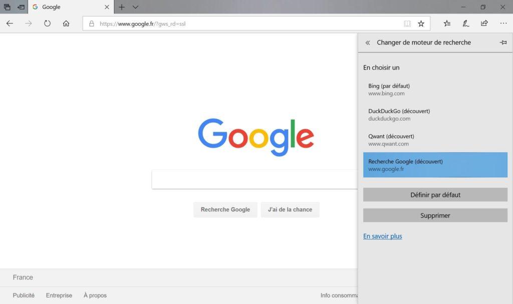 Changer le moteur de recherche de Microsoft Edge par Google
