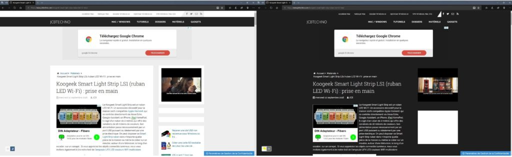 activer le theme sombre sur toutes les pages web