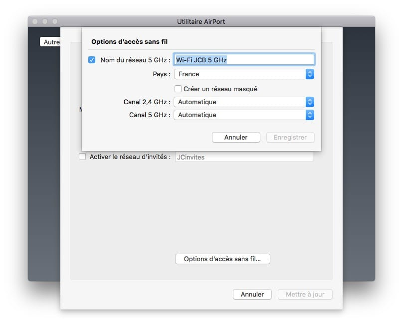 apple airport configurer wifi 2,4 et 5ghz
