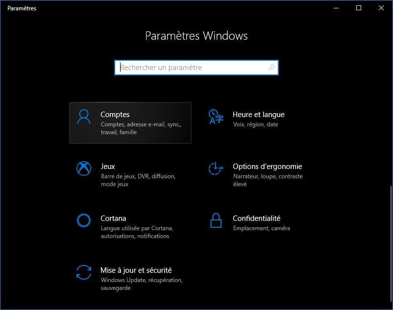 changer le mot de passe de windows 10 Comptes