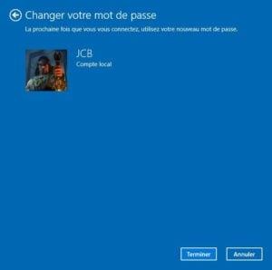 changer le mot de passe de windows 10 mot de passe modifie