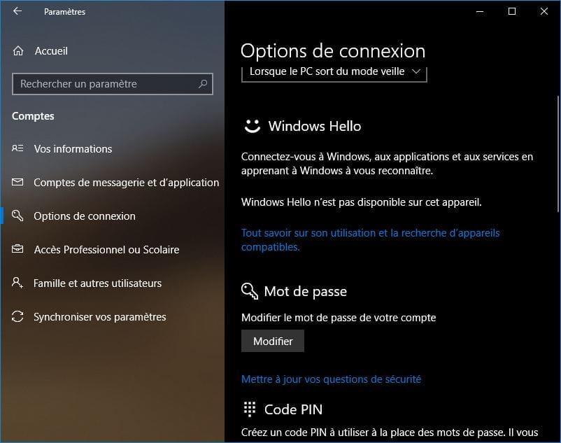 changer le mot de passe de windows 10 mot de passe