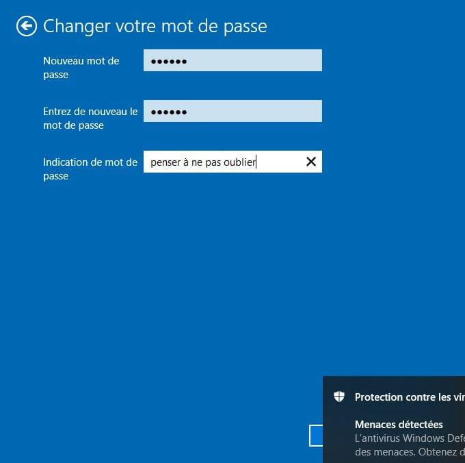 changer le mot de passe de windows 10 nouveau mot de passe
