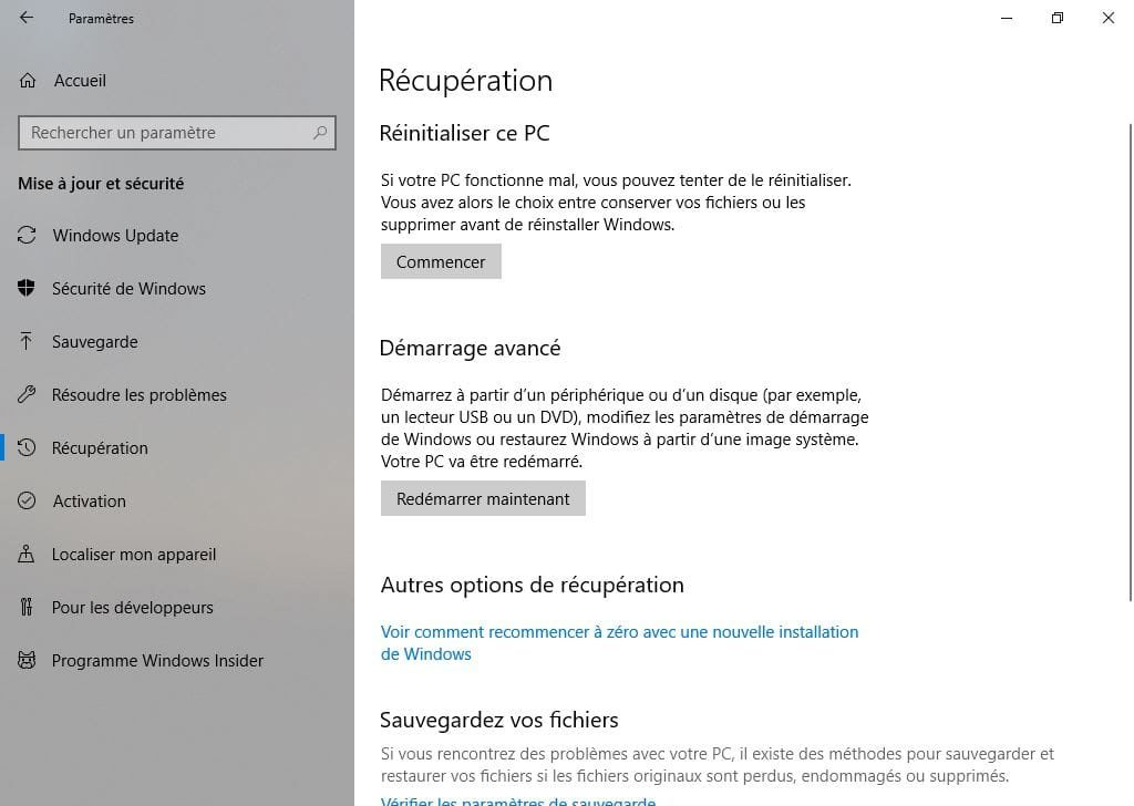 Installation propre windows 10 reinitialiser ce PC