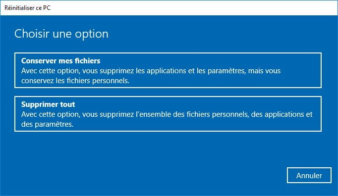 Installation propre windows 10 reinitialiser ce PC supprimer tout