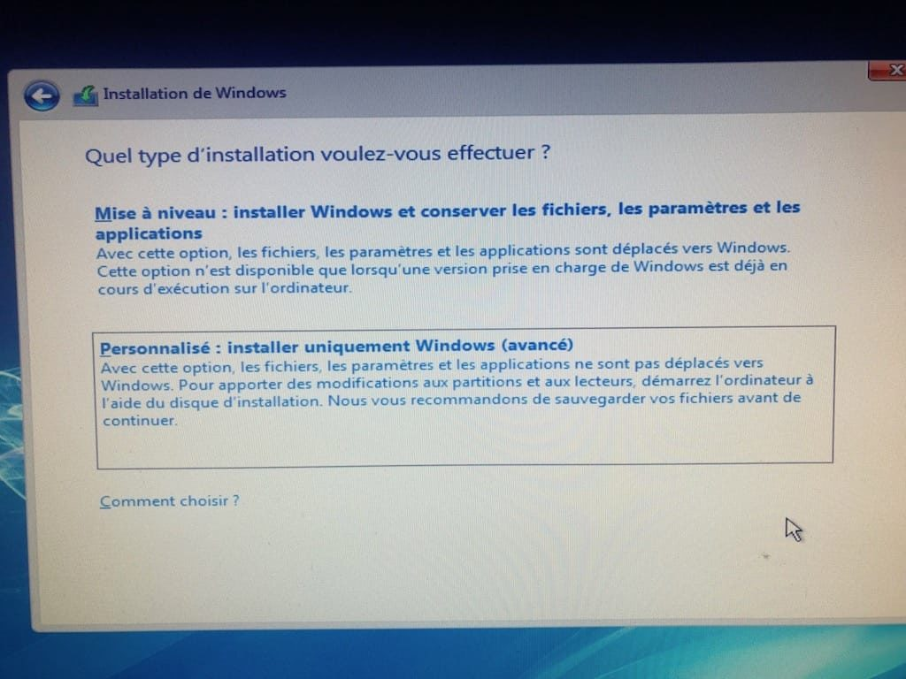 Windows 10 installation personnalise