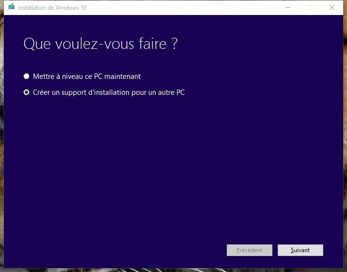creer un support dinstallation de Windows 10