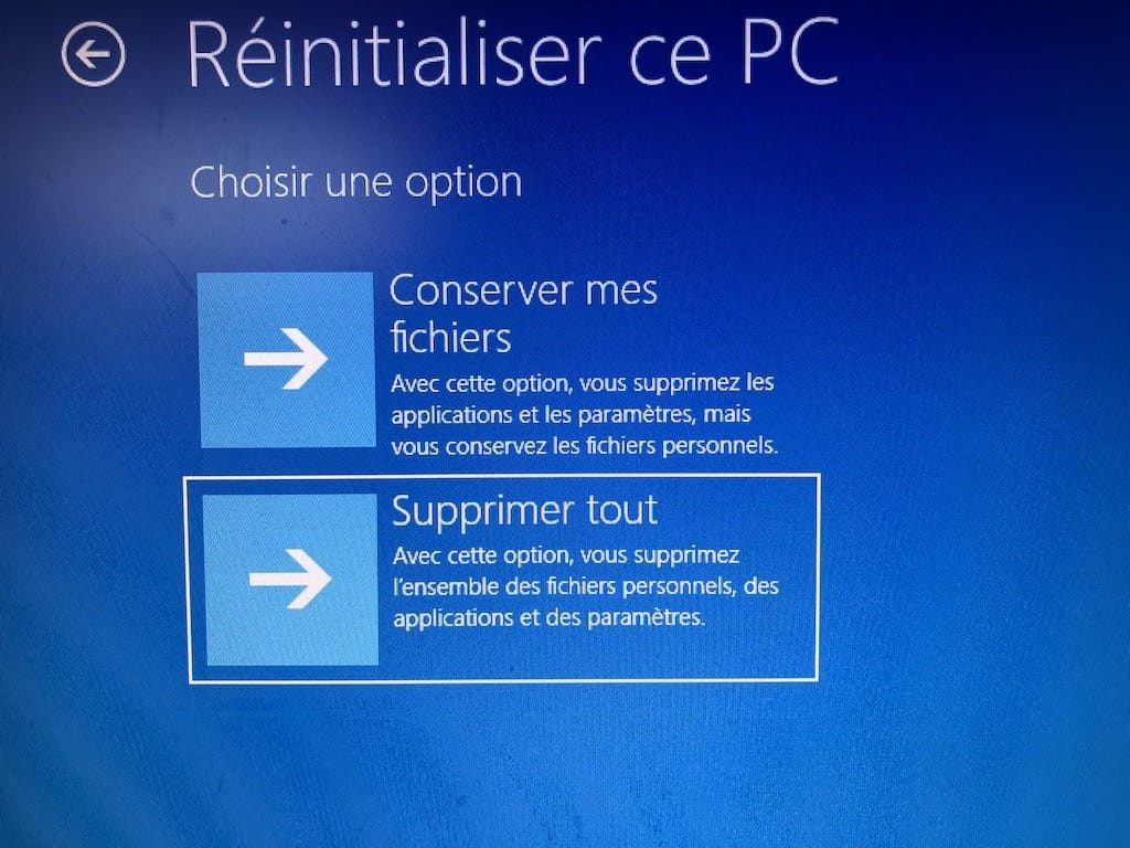 supprimer windows 10