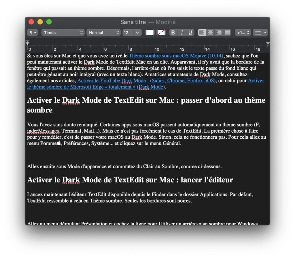 Textedit fond noir et texte blanc