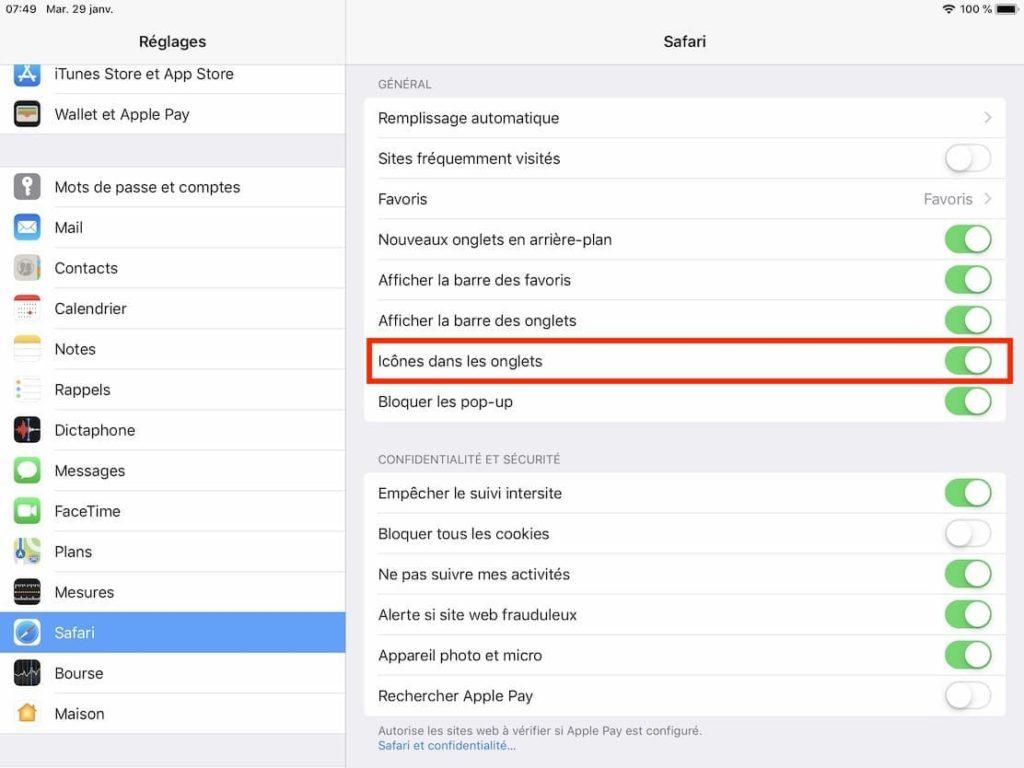 Afficher les icônes dans les onglets sur Safari iPad